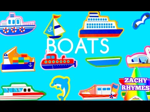 ROW ROW ROW YOUR BOAT KIDS NURSERY RHYME SONG LEARNING ABOUT OCEAN VEHICLE BOAT SHIP & ANIMAL