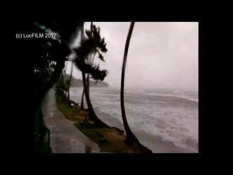 Hurricane IRMA hitting Dominican Republic / Hispaniola 9/7/17