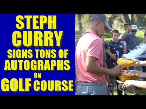 STEPHEN CURRY SIGNS TONS OF AUTOGRAPHS on GOLF course at American Century Championship