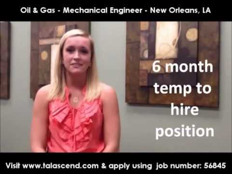 Oil & Gas Jobs: Mechanical Engineer New Orleans, LA - Job ID: 56845