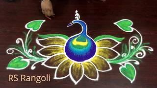 simple & Easy new year muggulu ||RS-Rangoli || Creative beautiful color rangoli designs