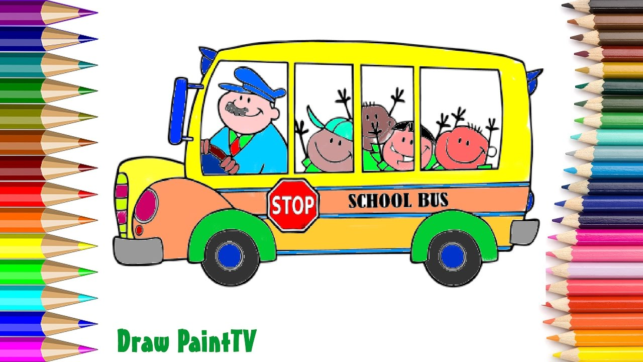 How to coloring school bus for kids, School Bus Coloring ...