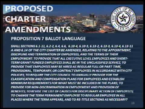 Proposed City Charter Amendments for May 2013 Election