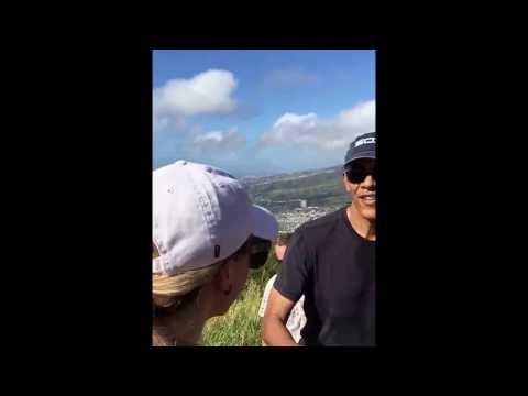 President Barack Obama surprises hikers on Koko Head Stairs of Doom