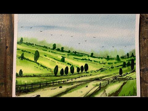 Landscape painting in watercolour | tutorial | Step by Step | @Artist Deepkaran