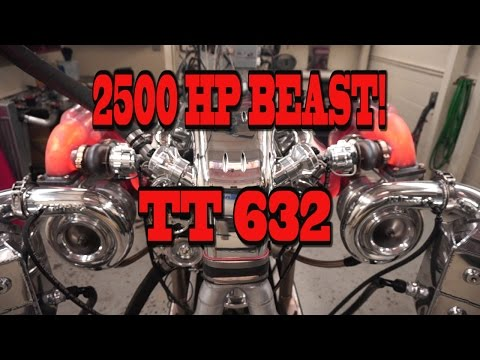 2500 HP Beastly Mirror Turbo 632 BBC from NRE!  More glowing red headers than Santa could use!