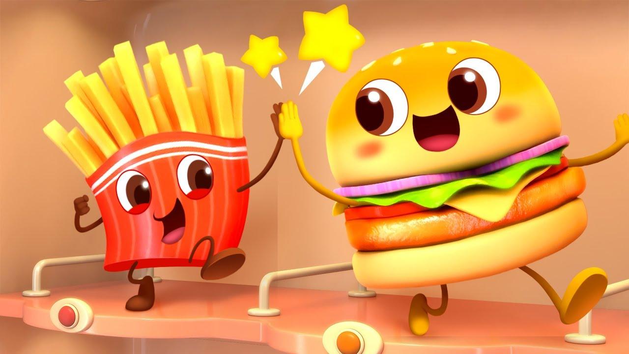 香噴噴的漢堡和薯條 | 美食兒歌 | 童謠 | 動畫 | 卡通 | 寶寶巴士 | 奇奇 | 妙妙