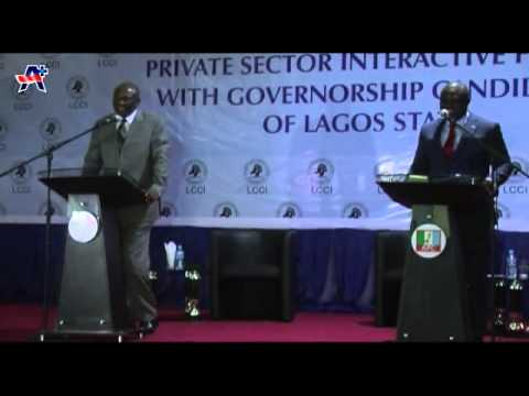 AKINWUNMI AMBODE AT THE GOVERNORSHIP DEBATE HELD AT LAGOS STATE CHAMBERS OF COMMERCE AND INDUSTRY