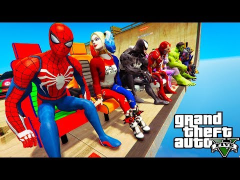 CARS and SPIDER-MAN with Superheroes Сhallenge on ramps MINI-CARS GTA V Mods