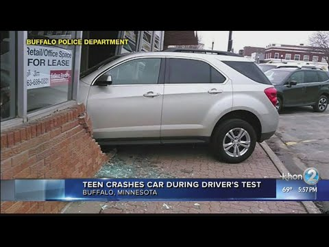 Teen Crashes Car During Driving Test