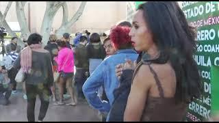 Migrant caravan groups arrive at US border