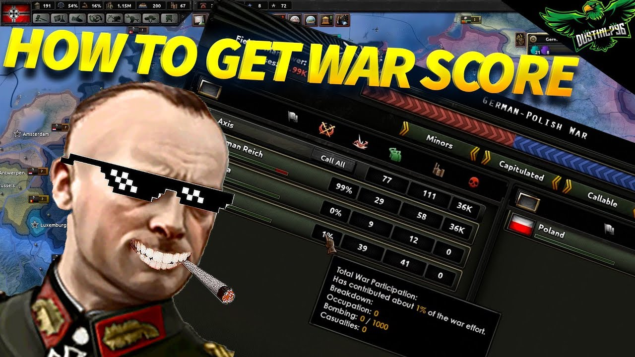 How to get War Score and War Participation (Hearts of Iron 4 Tutorial)