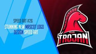 Team Trojan Mascot Logo Design - Speed Art