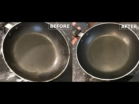 Clean Greasy Inside of Non Stick Pan With One Tool Only!