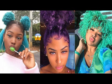 💙💙-hair-paint-wax-on-curly-hair-compilation-😍
