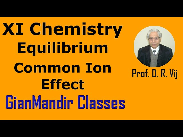 XI Chemistry | Equilibrium | Common Ion Effect by Ruchi Ma'am
