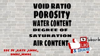 Basic definition of soil mechanics (void ratio, porosity, water content, degree of saturation)