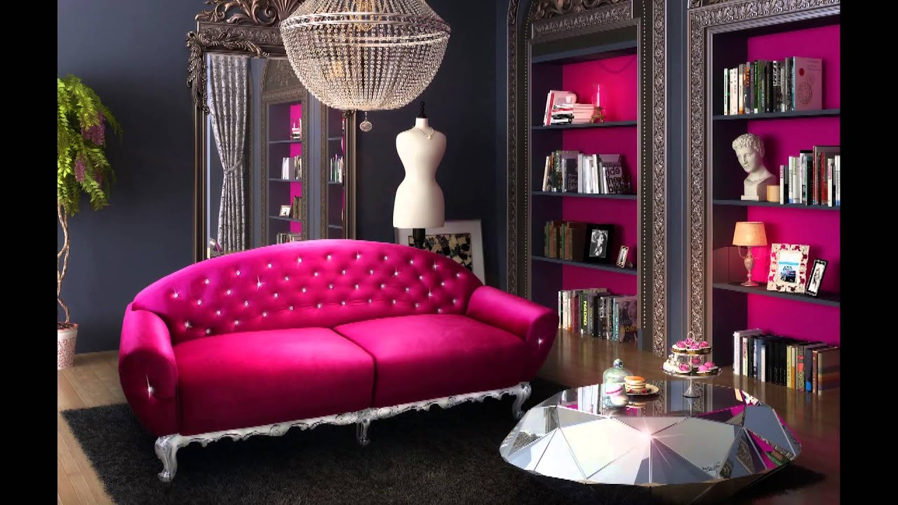 Canape baroque velours fushia charlotte youtube for Chambre baroque noir et rose
