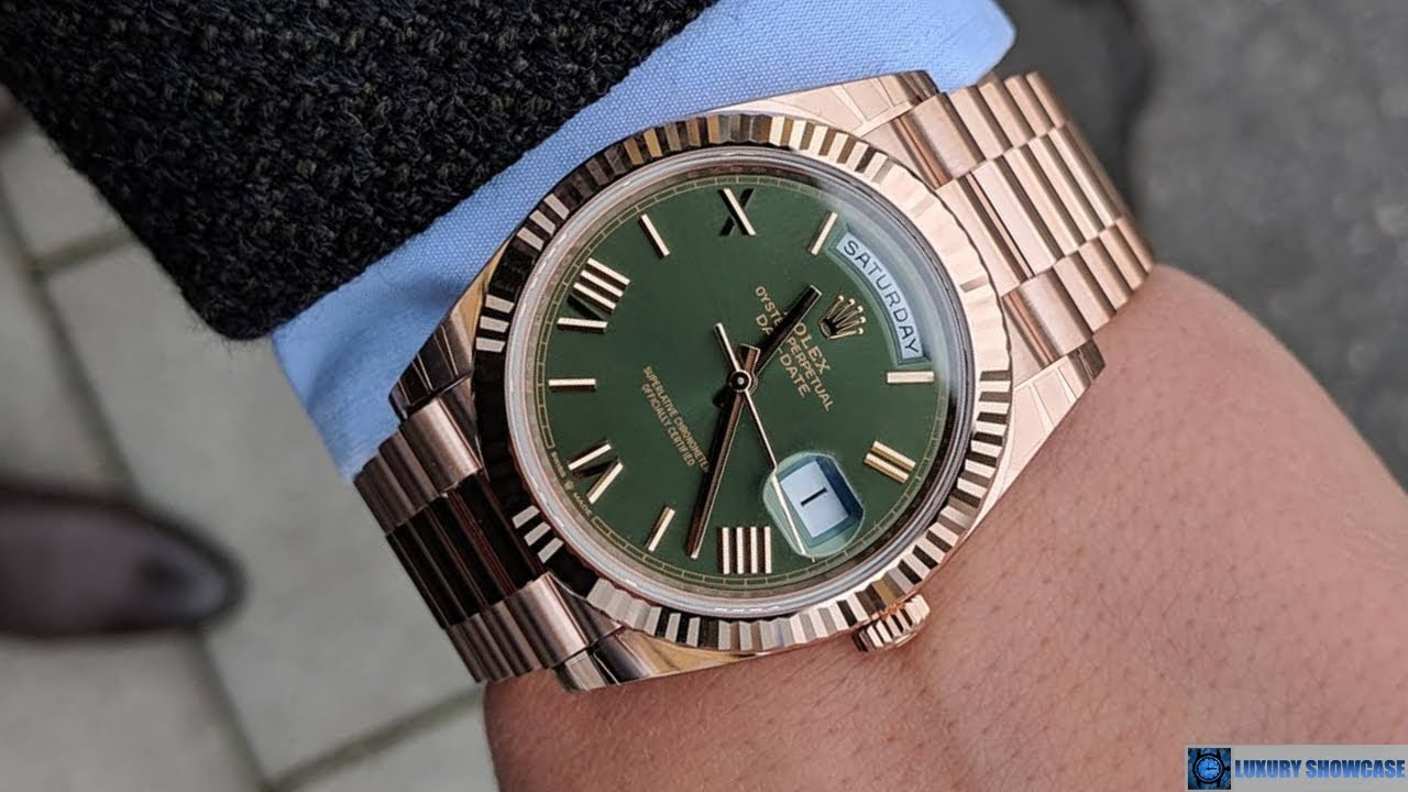 Rolex Day,Date 228235 Olive Green Roman dial 40 mm Everose gold