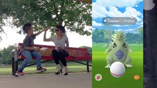 My 9 year old son hitting Level 40 (Iron tail/fire blast duo tyranitar no weather boost)