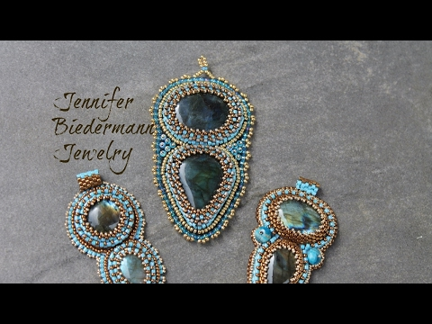 Bead embroidery labrarodite focal pendant tutorial