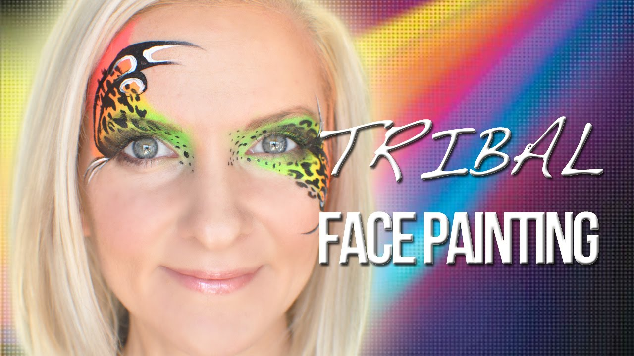Tribal Neon Face Painting Tutorial Perfect For Glow Party Youtube