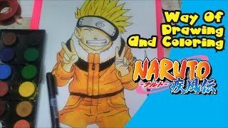 how drawing and coloring naruto , cara mengambar naruto