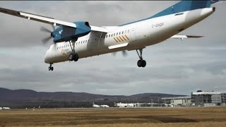 VERY LOW Crosswind landing at Quebec City airport!!!