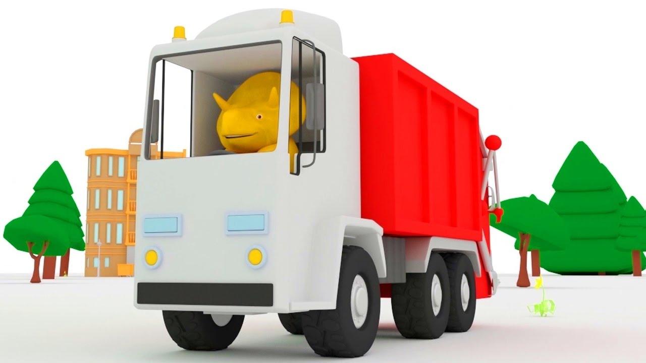 Impara i numeri con il camion della spazzatura e dino