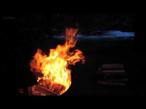 Relaxing Mountain River, Nighttime Campfire w/ Guitar - 1 Hr