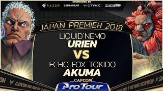 Liquid`Nemo (Urien) vs Echo Fox Tokido (Akuma) - Japan Premier Losers Finals - CPT 2018