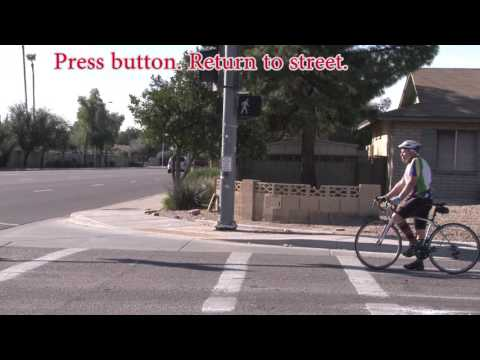 Cycling across main roads in Glendale and Tempe Arizona