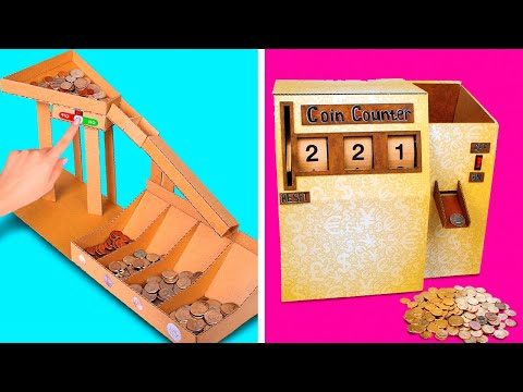 Sort And Count COINS like a PRO || How To Make DIY Cardboard Coin Counter And Sorting Machine💰