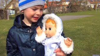 Rinat as a nanny for a little doll