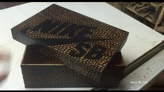 Carved Wooden Nike Shoe Box