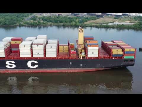 Aerial Drone Video of Cargo Ship MSC Shuba B Delaware River Philadelphia