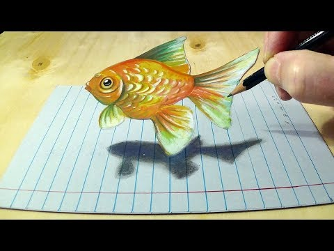 Goldfish Illusion - Drawing A 3D Fish On Line Paper - Trick Art By Vamos