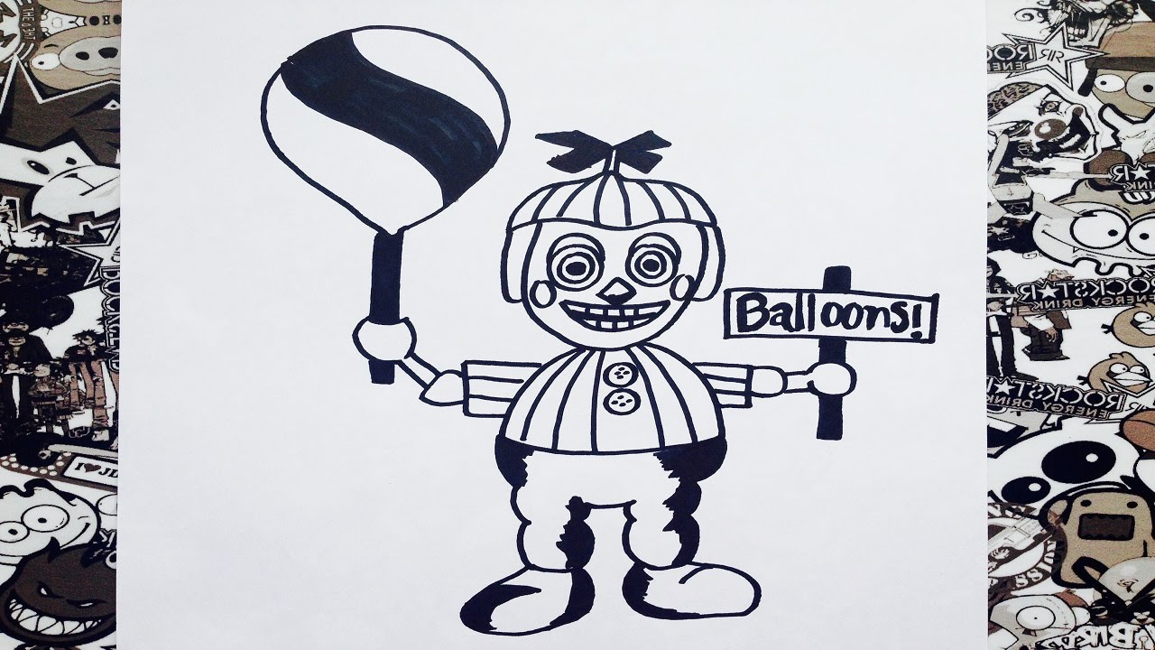 como dibujar a balloon boy de five nights at freddy s how to draw