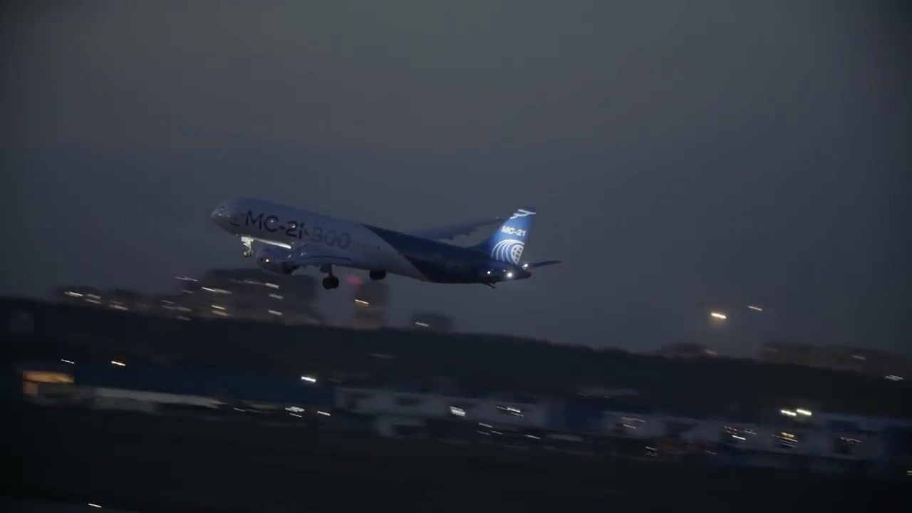 Image result for MC-21-300 aircraft has performed a maiden landing in the dark