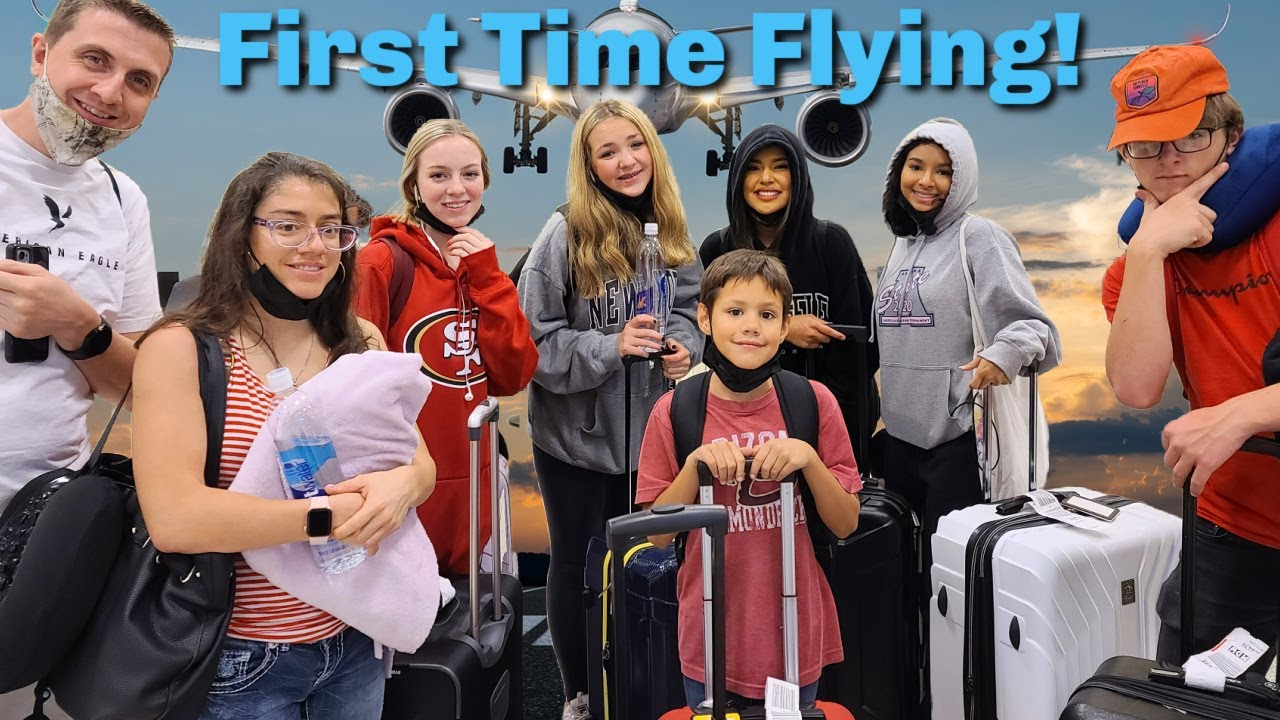 Traveling With 8 Kids! | First Time Flying