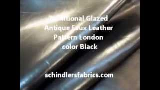 Traditional Glazed Antique Faux Leather Pattern London Color Black