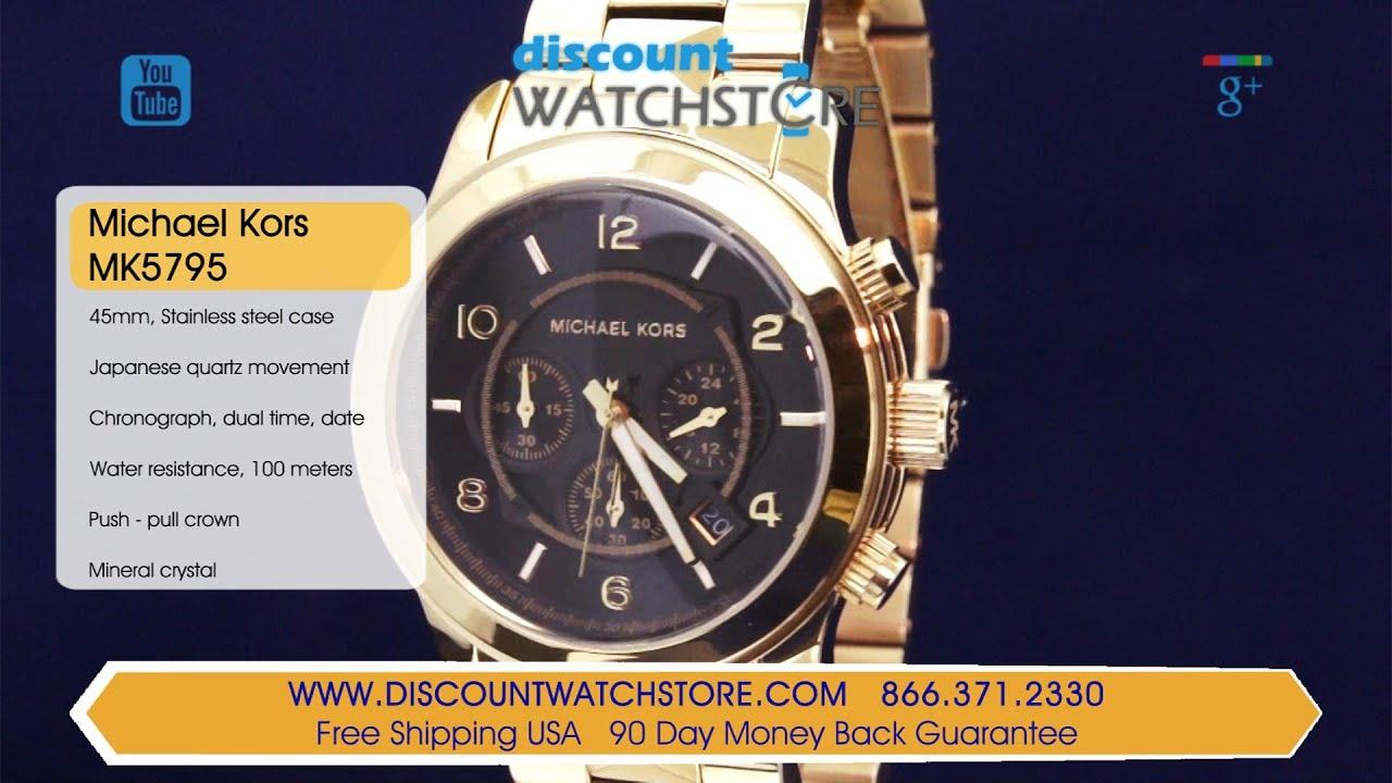 604dfe6ca13f Michael Kors MK5795 Men s Runway Pyramid-Stud Black Dial Gold Tone Steel Chrono  Watch Review Video