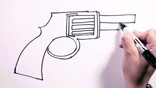 How to Draw Colt Revolver Pistol - Draw Easy | Freehand Easy-to-Follow Drawings