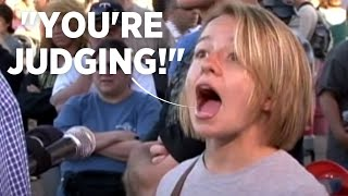 Wretched: Tearful woman confronts open-air preacher.