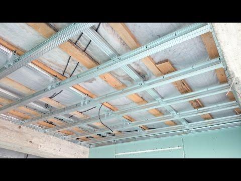 видео: гипсокартонный потолок 18. Монтаж в воздухе. gypsum ceiling.