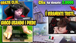Clix DONA 2000 Dollari ad uno Streamer Senza Mani e Lui si Commuove in Live! (Fortnite)