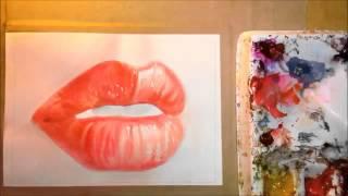 Как Нарисовать реалистичный рот губы)   акварельный портрет