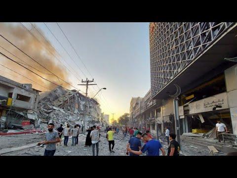 Scenes of Destruction as Al-Sharouk Tower Flattened by Israeli Airstrike
