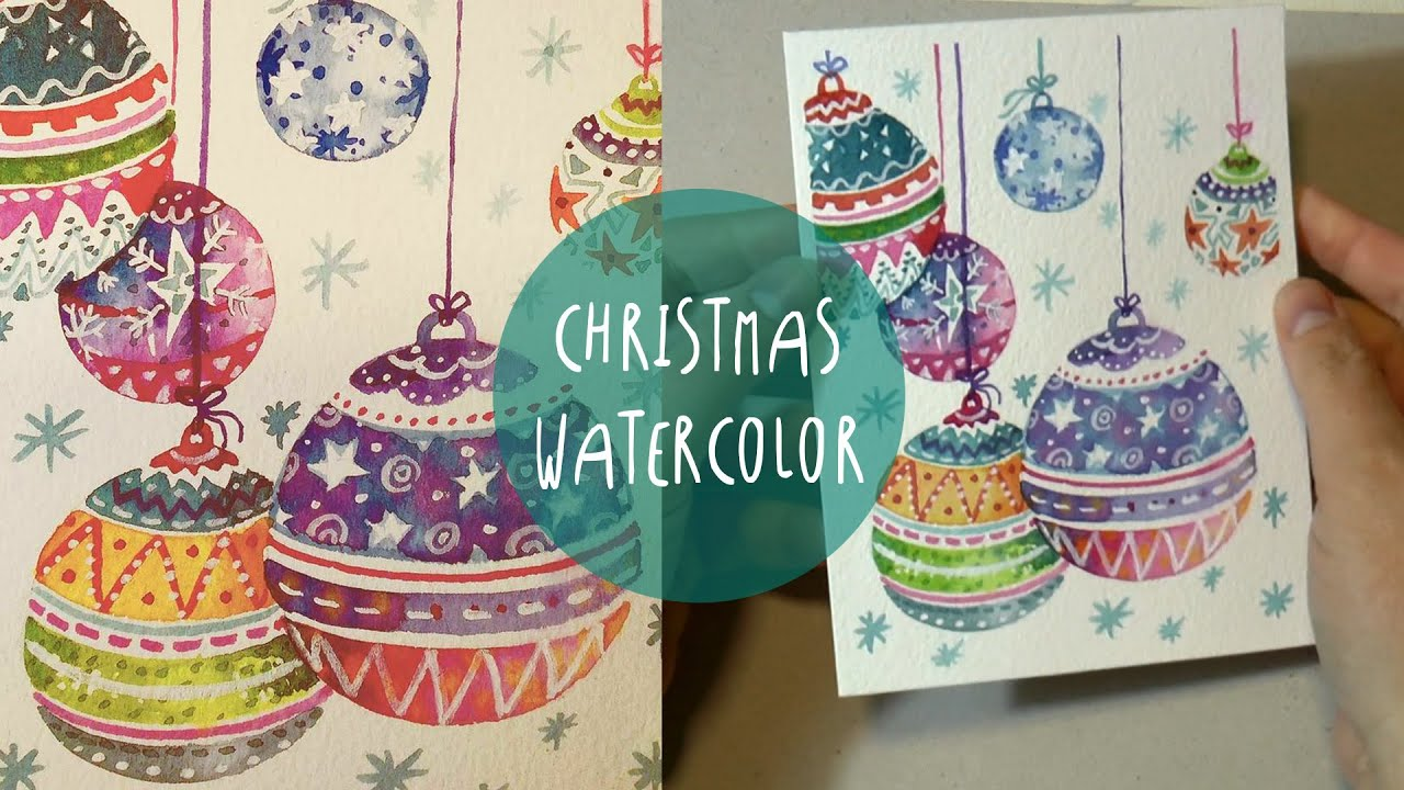 WATERCOLOR for CHRISTMAS: How to PAINT Xmas ornaments * SPEED ...
