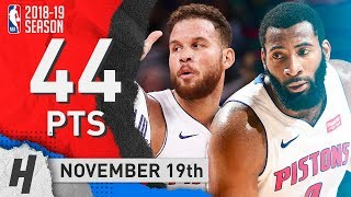 Blake Griffin & Andre Drummond SICK Highlights Pistons vs Cavaliers 2018.11.19 - 44 Pts Combined